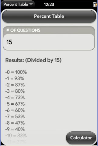 PercentTable Screenshot 0