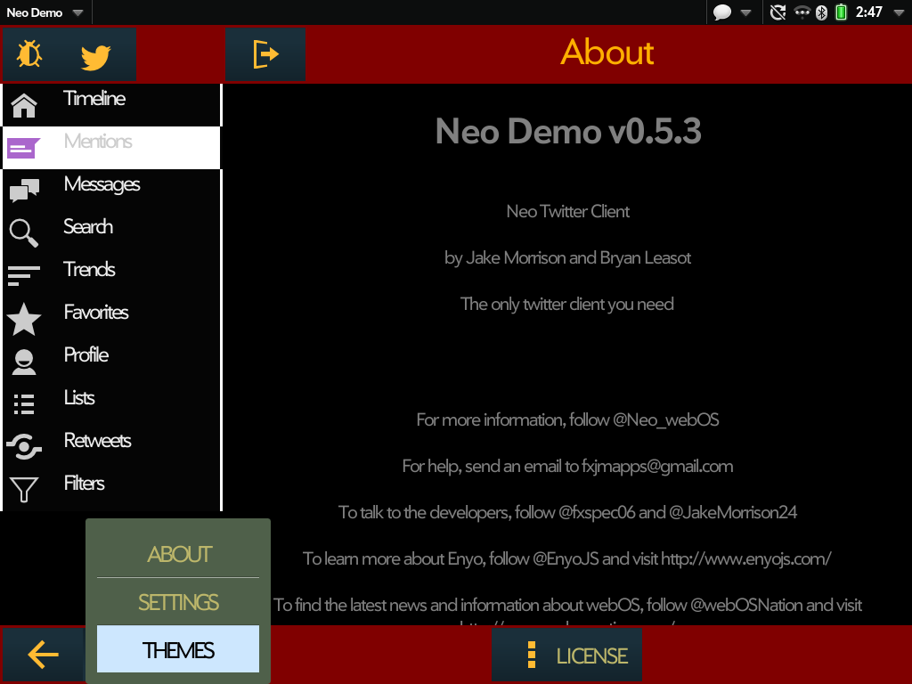 Neo for Twitter: Demo (Enyo2) Screenshot 0