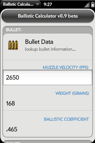 Ballistic Calculator Screenshot 0