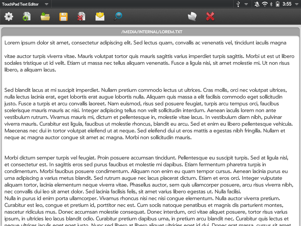 TouchPad Text Editor  Screenshot 0