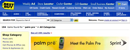 Palm Pre Banner on Best Buy website