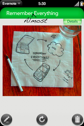 Evernote app on webOS