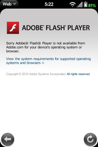 Flash Player not available on webOS