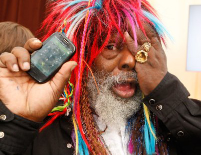 George Clinton with the Palm Pre Plus, backstage at the Grammys