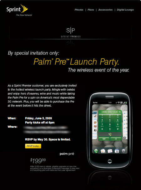 Sprint Premier Pre Launch Party Invite