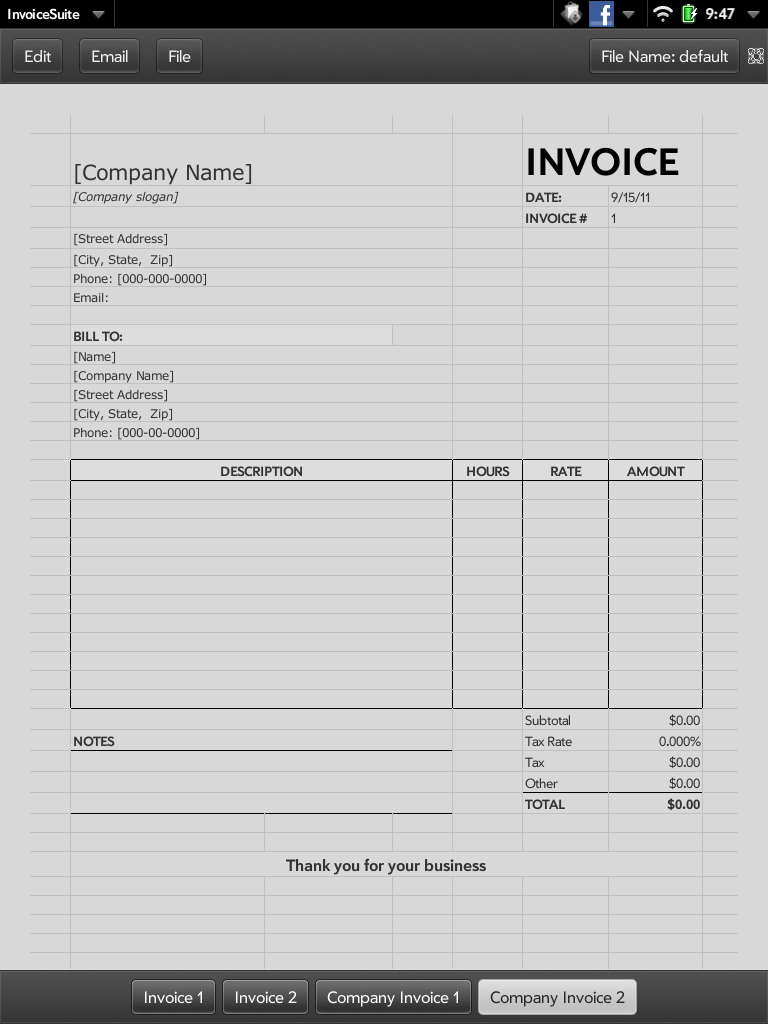 Quick App Invoice WebOS Nation - Invoice quick app