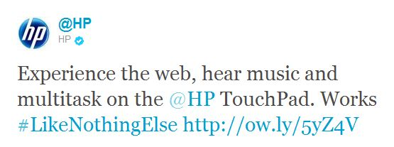 HP TouchPad Twitter Trend