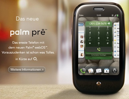 Palm Pre, officially on O2 (in Germany)