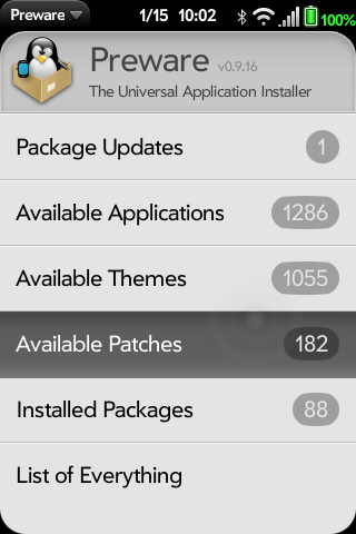 Available Patches for webOS Palm Pre and Pixi