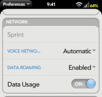 Phone Prefs - Roaming options