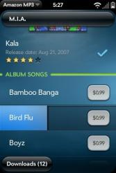 Palm Pre Amazon MP3 Store Song Preview