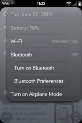 Palm Pre Connection Menu Bluetooth