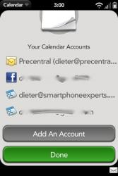 Palm Pre Calendar Preferences - Accounts