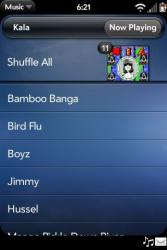 Palm Pre Music Player Songs View