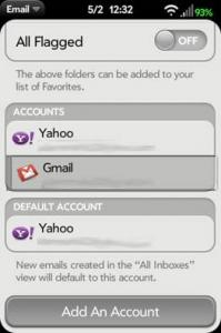 Before Screenshot of rearranging email accounts