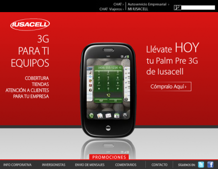 Palm Pre on Iusacell website