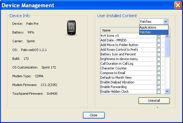 Palm webOS Pre and Pixi Remove Apps and Patches
