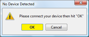 Click OK when asked to Connect Device